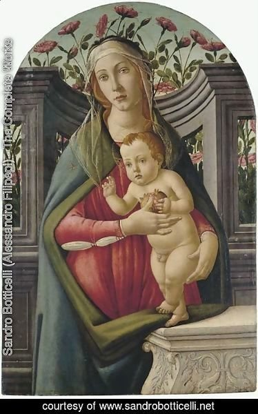 Sandro Botticelli (Alessandro Filipepi) - The Madonna and Child, with a pomegranate, in an alcove with roses behind