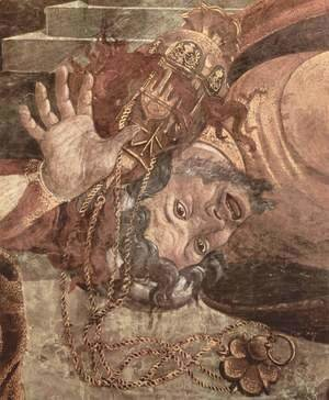 Frescoes in the Sistine Chapel in Rome, the scene of punishment Levites