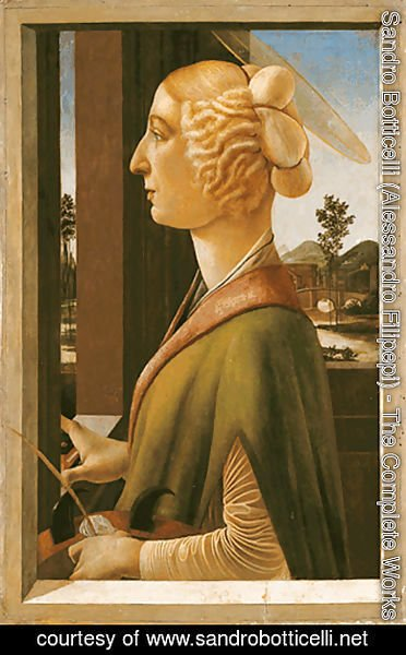 Sandro Botticelli (Alessandro Filipepi) - Woman with attributes of Saint Catherine, so called Catherina Sforza Sandro Botticelli