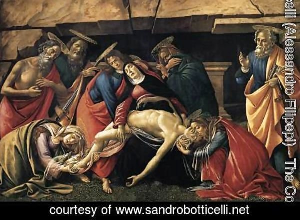 Sandro Botticelli (Alessandro Filipepi) - Lamentation over the Dead Christ with Saints c. 1490