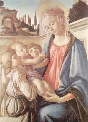 Sandro Botticelli (Alessandro Filipepi) - Madonna and Child and Two Angels c. 1470