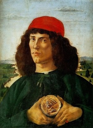 Sandro Botticelli (Alessandro Filipepi) - Portrait of a Man with a Medal of Cosimo the Elder c. 1474