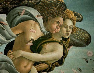 Sandro Botticelli (Alessandro Filipepi) - The Birth of Venus (detail 1) c. 1485