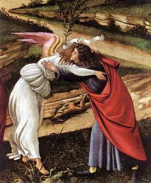 Sandro Botticelli (Alessandro Filipepi) - The Mystical Nativity (detail 1) c. 1500