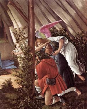 Sandro Botticelli (Alessandro Filipepi) - The Mystical Nativity (detail 2) c. 1500
