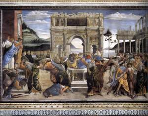 Sandro Botticelli (Alessandro Filipepi) - The Punishment of Korah and the Stoning of Moses and Aaron 1481-82