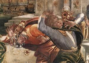 Sandro Botticelli (Alessandro Filipepi) - The Punishment of Korah and the Stoning of Moses and Aaron (detail 3) 1481-82