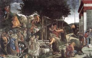 Sandro Botticelli (Alessandro Filipepi) - The Trials and Calling of Moses 1481-82