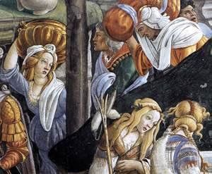 Sandro Botticelli (Alessandro Filipepi) - The Trials and Calling of Moses (detail 6) 1481-82