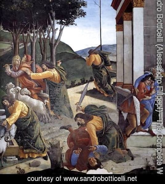 Sandro Botticelli (Alessandro Filipepi) - The Trials and Calling of Moses (detail 7) 1481-82
