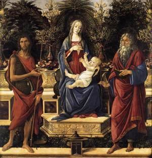 Sandro Botticelli (Alessandro Filipepi) - The Virgin and Child Enthroned (Bardi Altarpiece) 1484