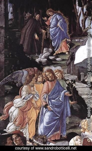 Sandro Botticelli (Alessandro Filipepi) - Three Temptations of Christ (detail 1) 1481-82