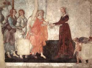 Sandro Botticelli (Alessandro Filipepi) - Venus and the Three Graces Presenting Gifts to a Young Woman c. 1484