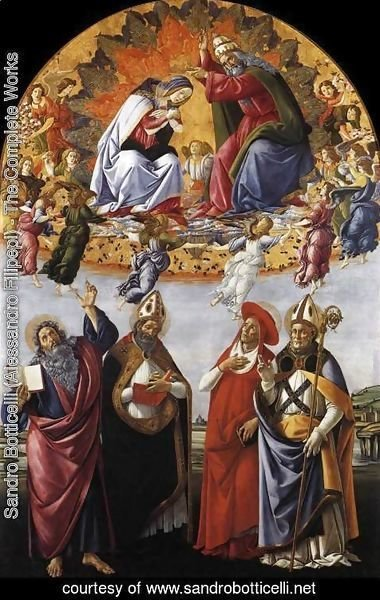 Sandro Botticelli (Alessandro Filipepi) - Coronation of the Virgin with St. John the Evangelist, St. Augustine, St. Jerome, and St. Eligio